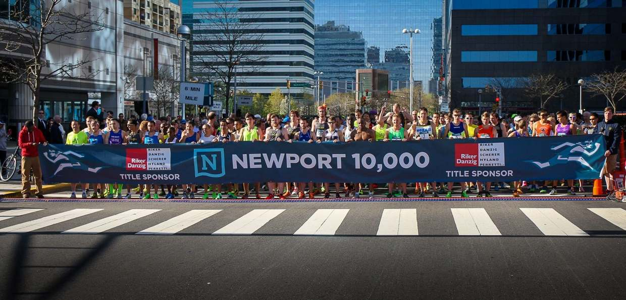 Newport annual 10k runners getting ready to start the race in Jersey City.