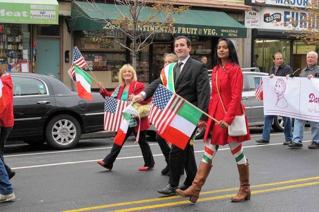 Jersey City Parade Participants Don Italian Colors for Columbus Day